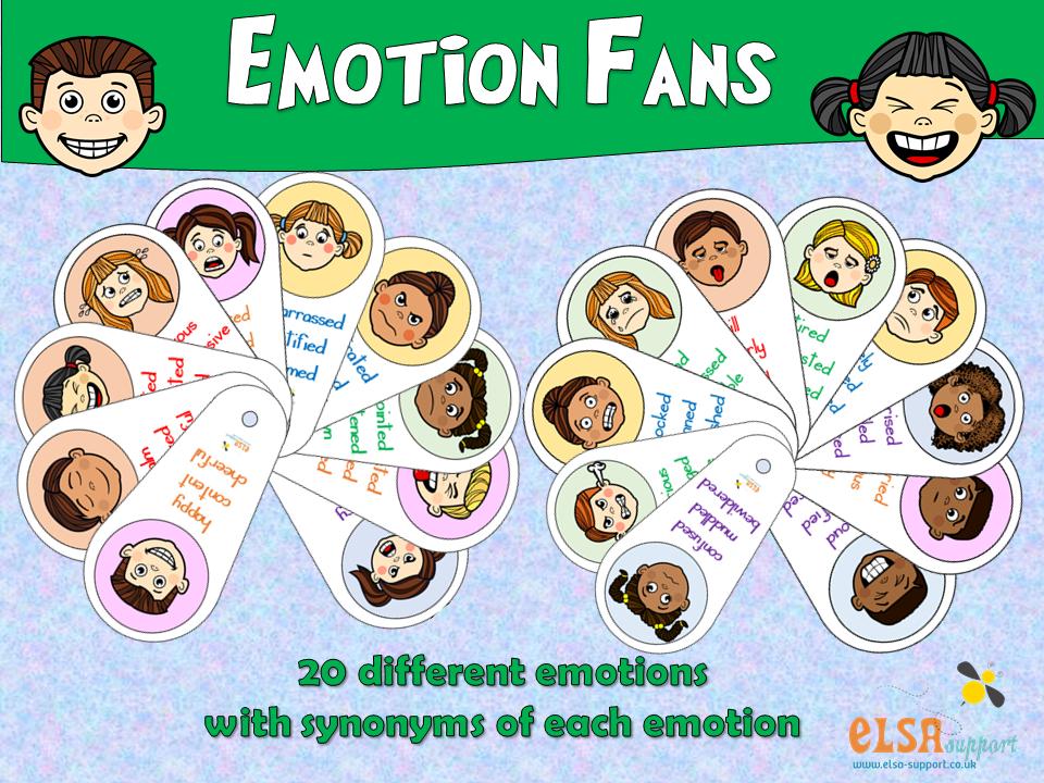 ELSA SUPPORT Emotion Fans - PSHE, Mental Health, Social Skills.