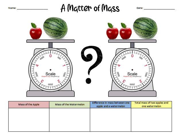 A Matter of Mass - Scales Maths Challenge Worksheet