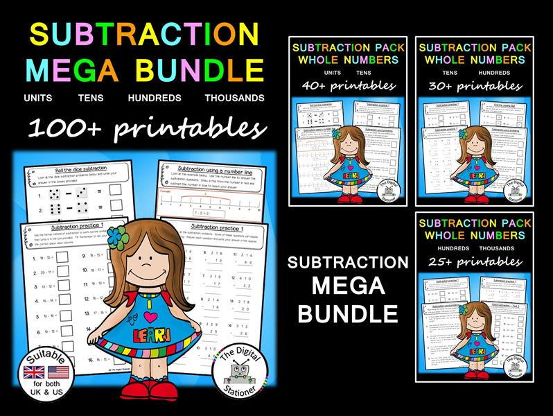 Subtraction MEGA Bundle (suitable UK/US) - 100+ printables
