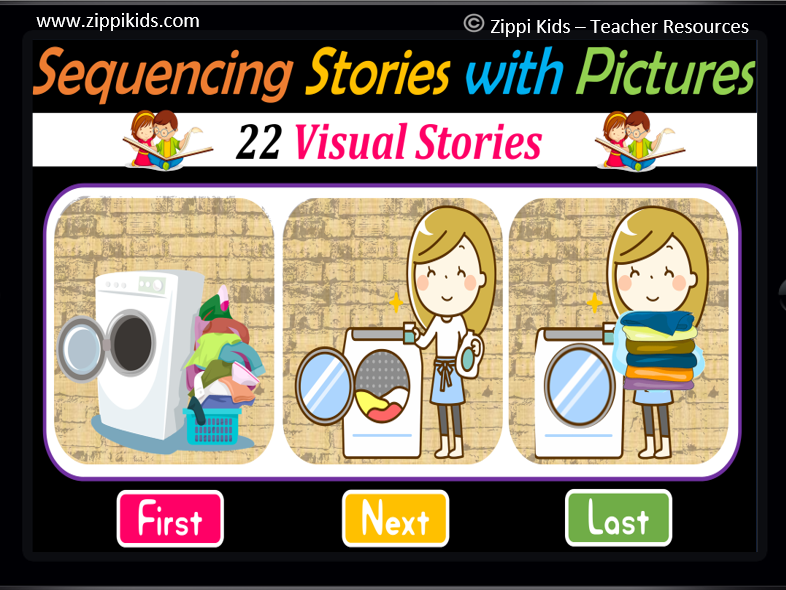 22 Sequencing Stories with Picture Cards   Fun Fridays   Virtual - Google Slides