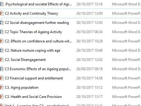 BTEC Level 3 Health and Social Care Unit 1 Human Lifespan C2 Aging psychological C3 Societal Effects