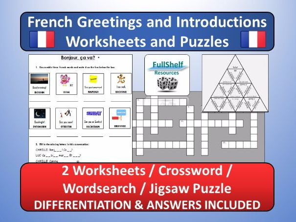 french greetings introductions worksheets puzzles by fullshelf teaching resources tes. Black Bedroom Furniture Sets. Home Design Ideas
