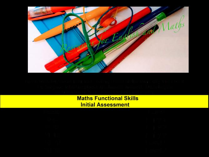 Functional Skills Maths Initial Assessment
