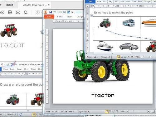 easy vehicles tasks for SEND pupils
