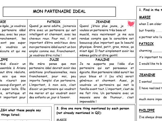 GCSE FRENCH 'Ideal Partner' Sentence Builder and Narrow Reading
