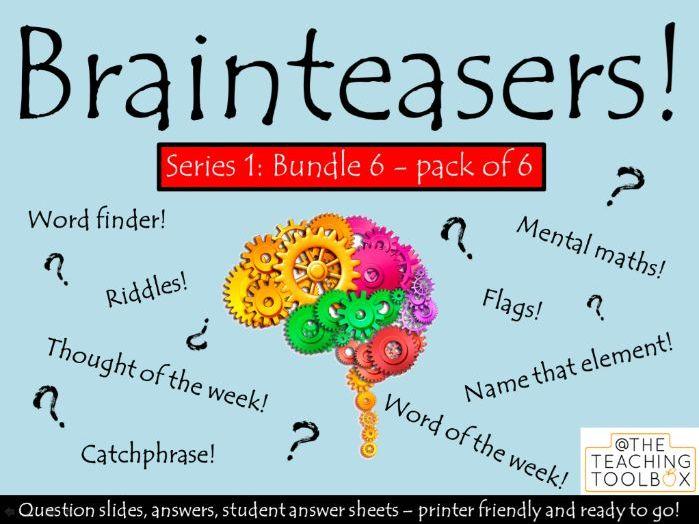 Brainteasers - Series 1 - Bundle 6 -  Form / Tutor Time Quiz Activity