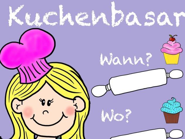 Kuchenbasar - German school tradition, Deutsch, Geld sammeln für Klasse, Poster, display