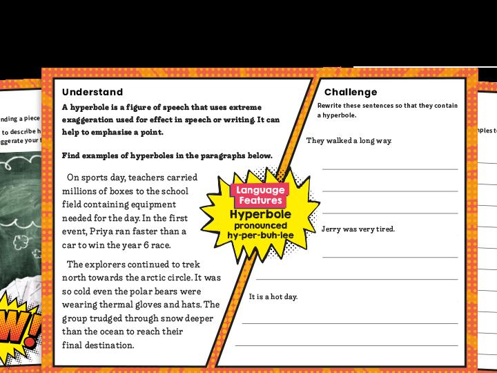 KS2 Writing Features Challenge Mat: Hyperbole
