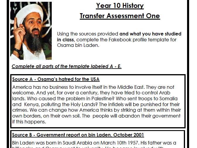 Year 10 Global Terrorism Assessment (HIGH & LOW ABILITY)