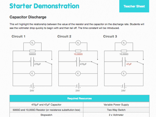 Capacitor Discharge - Starter Demonstration, Student Worksheet and Answers