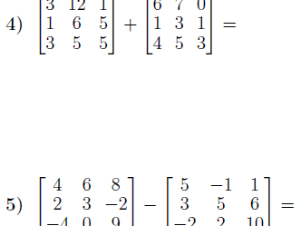 Adding and subtracting matrices worksheets (with solutions)