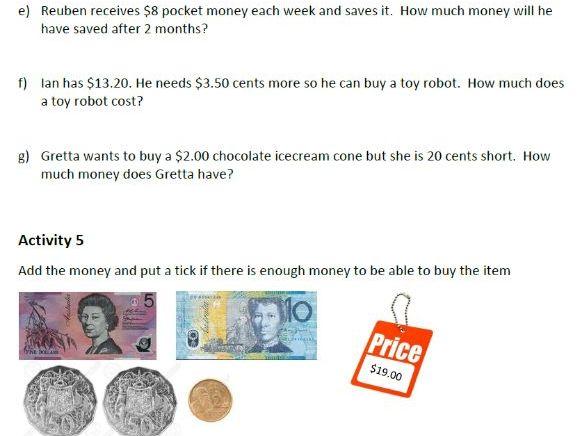 Grades 4 to 6 Money Worksheet