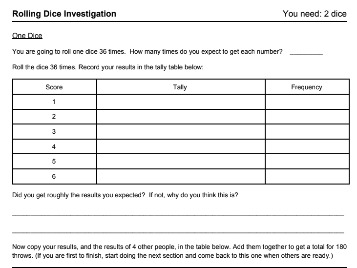 Rolling Dice Investigation