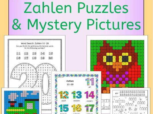 German Numbers Zahlen Puzzles and Mystery Pictures