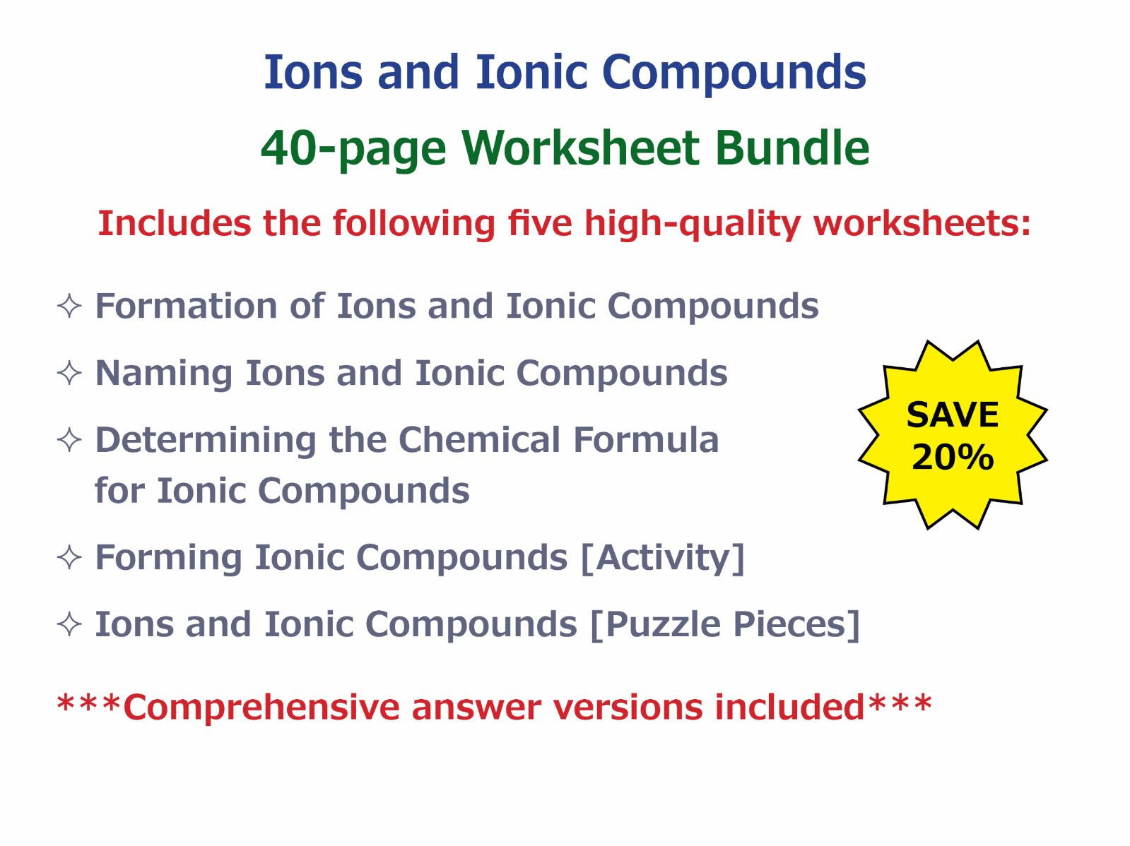 Naming Ions and Ionic pounds Worksheet by