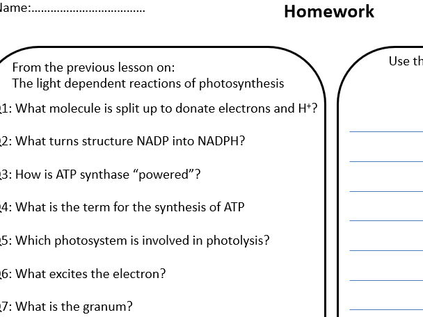 Flipped HW - light dependent reactions of photosynthesis