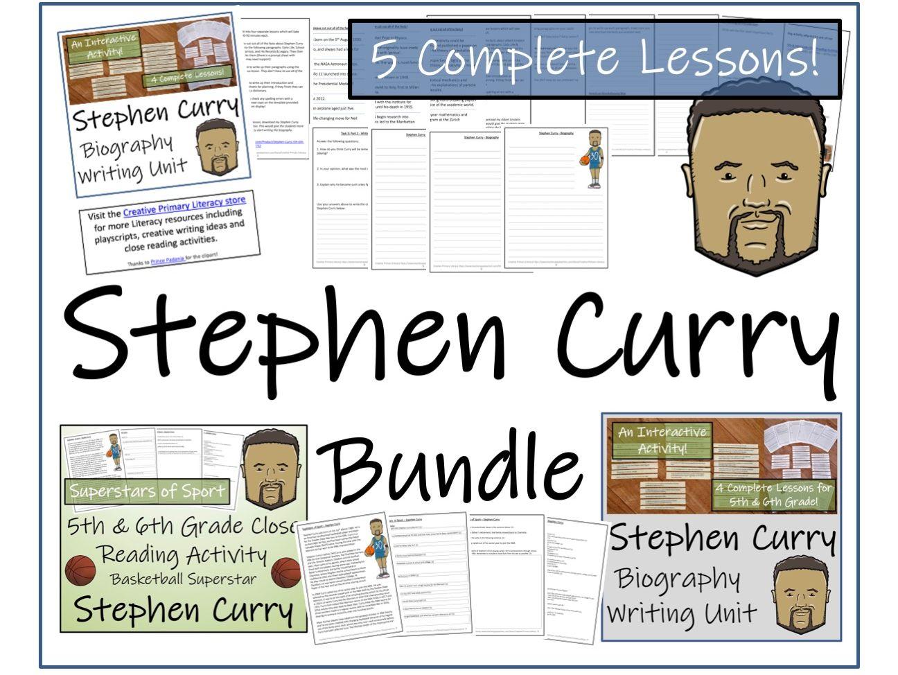 UKS2 Literacy - Stephen Curry Reading Comprehension & Biography Bundle