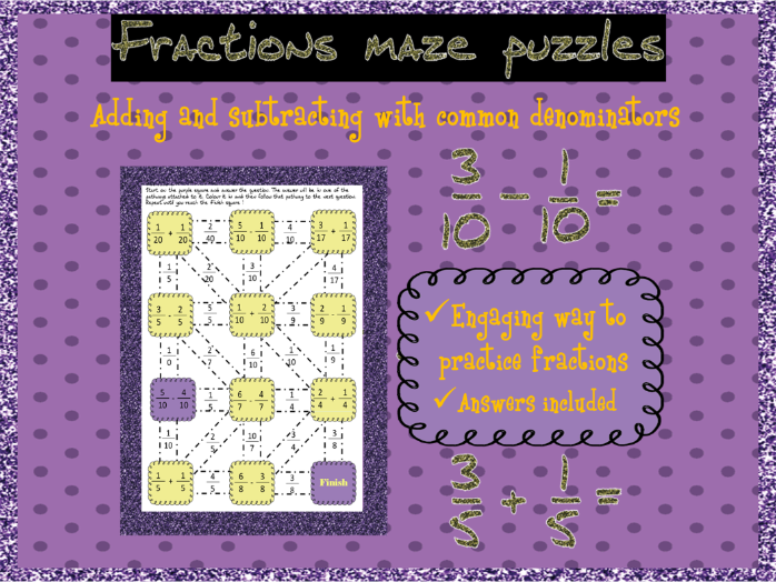 Adding and subtracting fractions with common denominators mazes