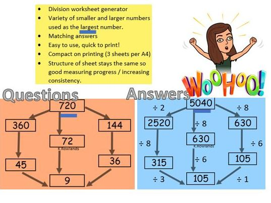 KS3 Division Wheel starter generator, Many examples through a button, Varied questions, Answers