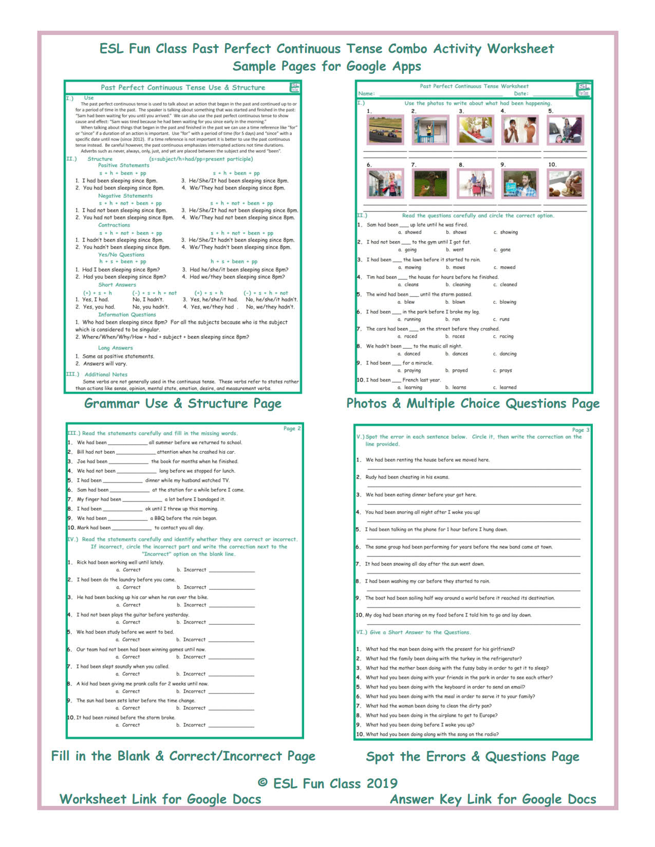 Past Perfect Continuous Tense Combo Interactive Worksheets for Google Apps