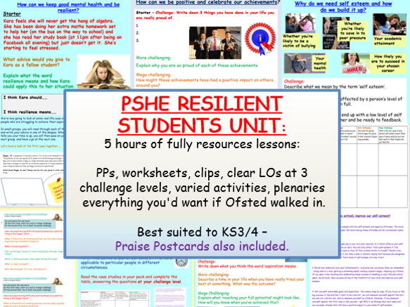 PSHE Resilience Unit
