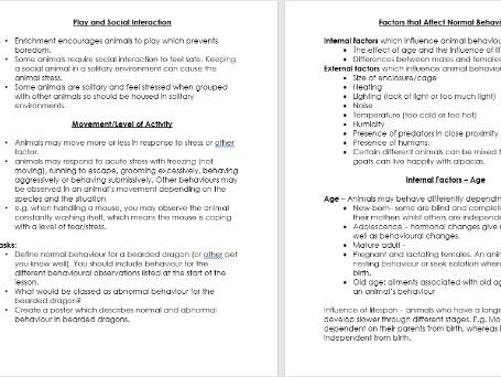 Animal Care, Animal Behaviour. Unit 5A -Information Booklet.
