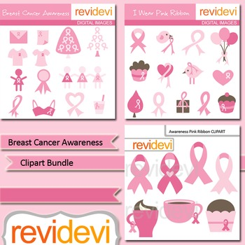 Breast cancer awareness clip art bundle (3 packs)
