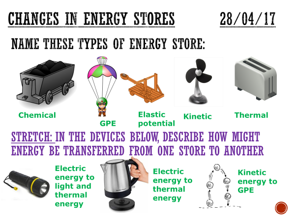 Changes in energy stores  - complete lesson (KS4)