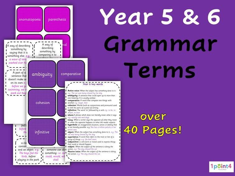 Year 5 & 6 Grammar Flashcards