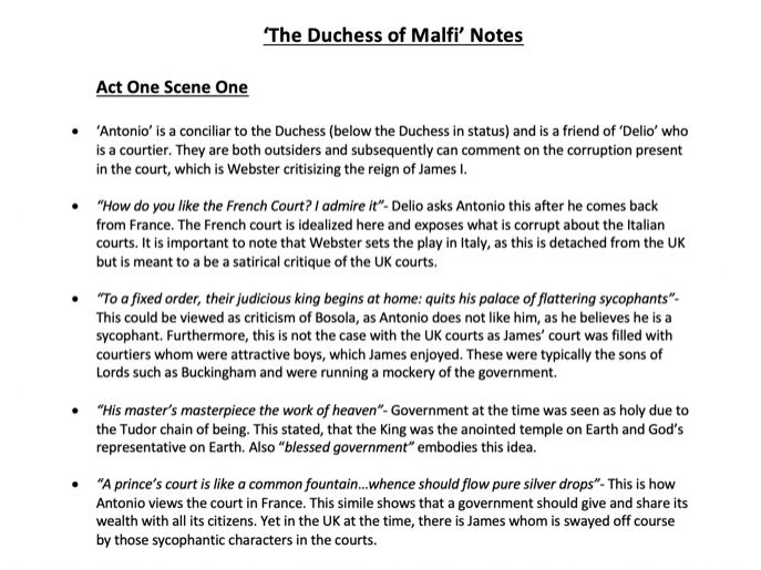 'The Duchess of Malfi'- Detailed Revision Notes