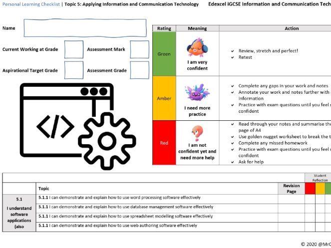 iGCSE Edexcel ICT (9-1) Unit 5 - Applying ICT PLC (Personal Learning Checklist)