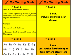Writing Goals: encouraging children to take ownership of their learning.