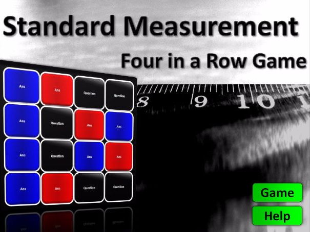 Four in a Row Interactive Quiz Game: Standard Units of Measure (AQA G14)