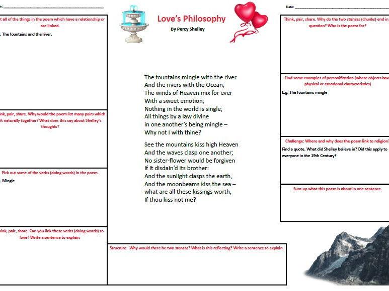 KS3 Love's Philosophy Percy Shelley A3 worksheet