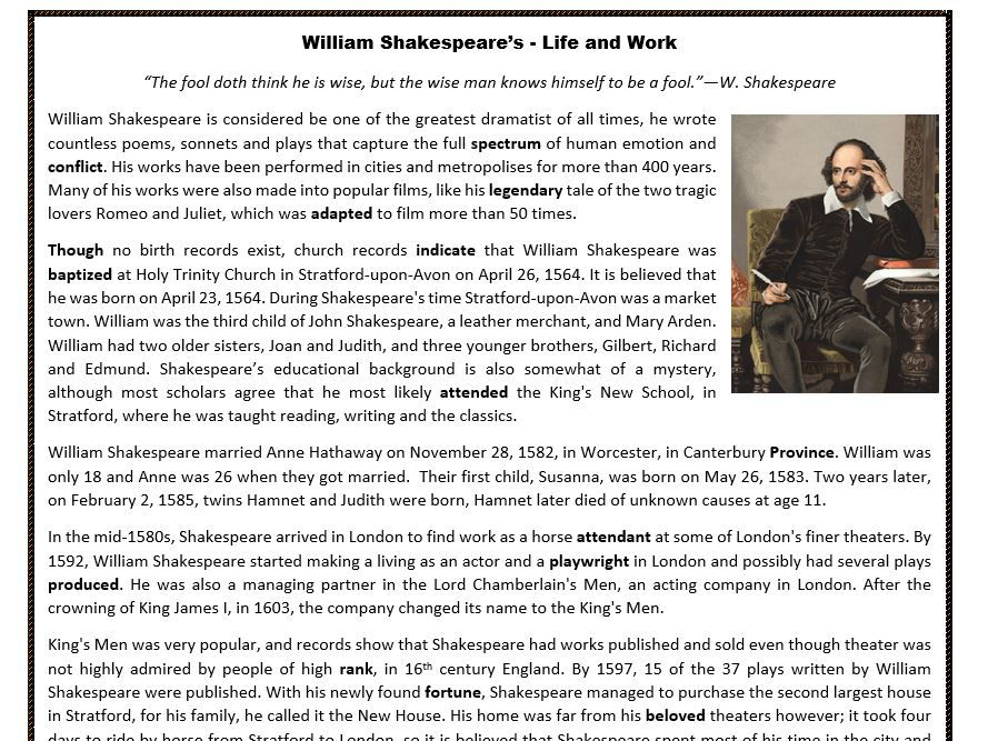 william shakespeare 39 s life and work reading comprehension by mariapht teaching resources tes. Black Bedroom Furniture Sets. Home Design Ideas