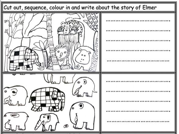Elmer the Elephant: Cut, sequence, colour and write about the story KS1