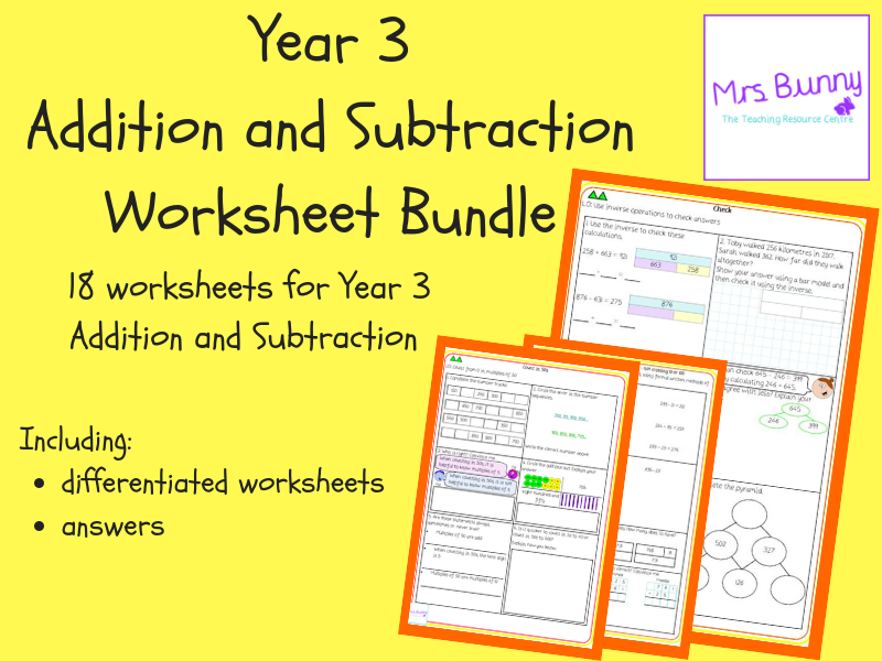 year 3 addition and subtraction worksheet bundle by mrssbunny teaching resources. Black Bedroom Furniture Sets. Home Design Ideas