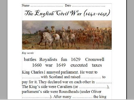 The English Civil War (powerpoint and differentiated worksheets)