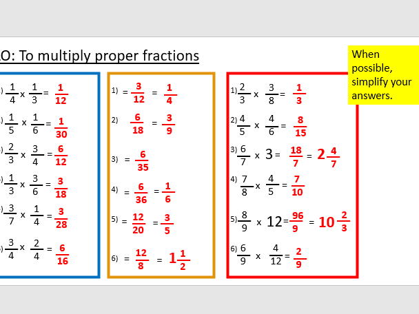 Multiplying fractions year 6
