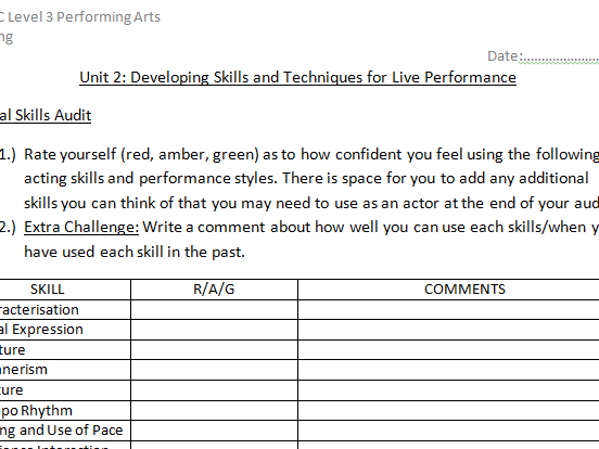 Level 3 BTEC P. Arts Unit 2 Skills Audit