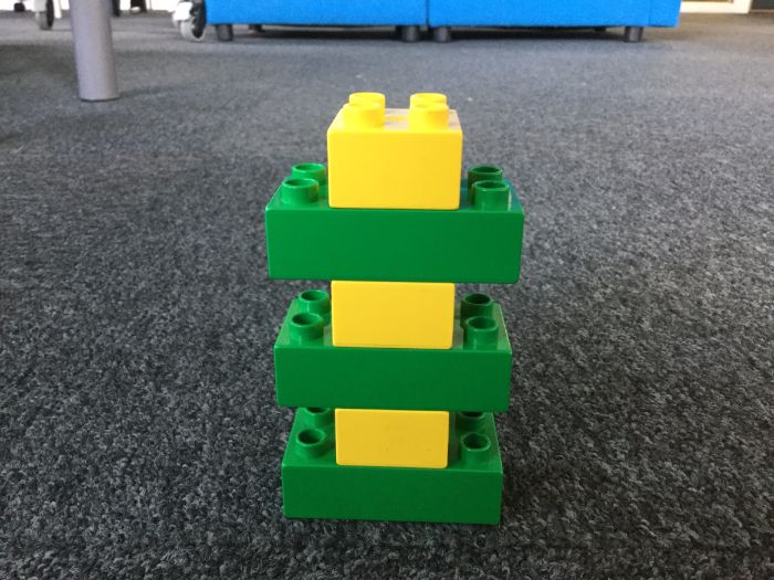 Green&yellow pylon. Lego-based Therapy.