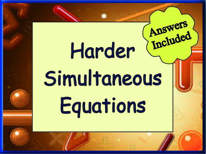 Harder Simultaneous Equations - 25 Questions with answers