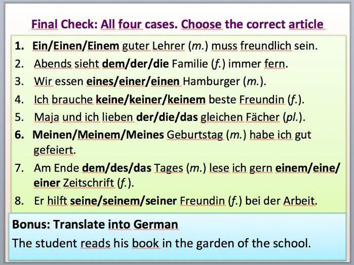 All 4 cases in German for the definite and indefinite article