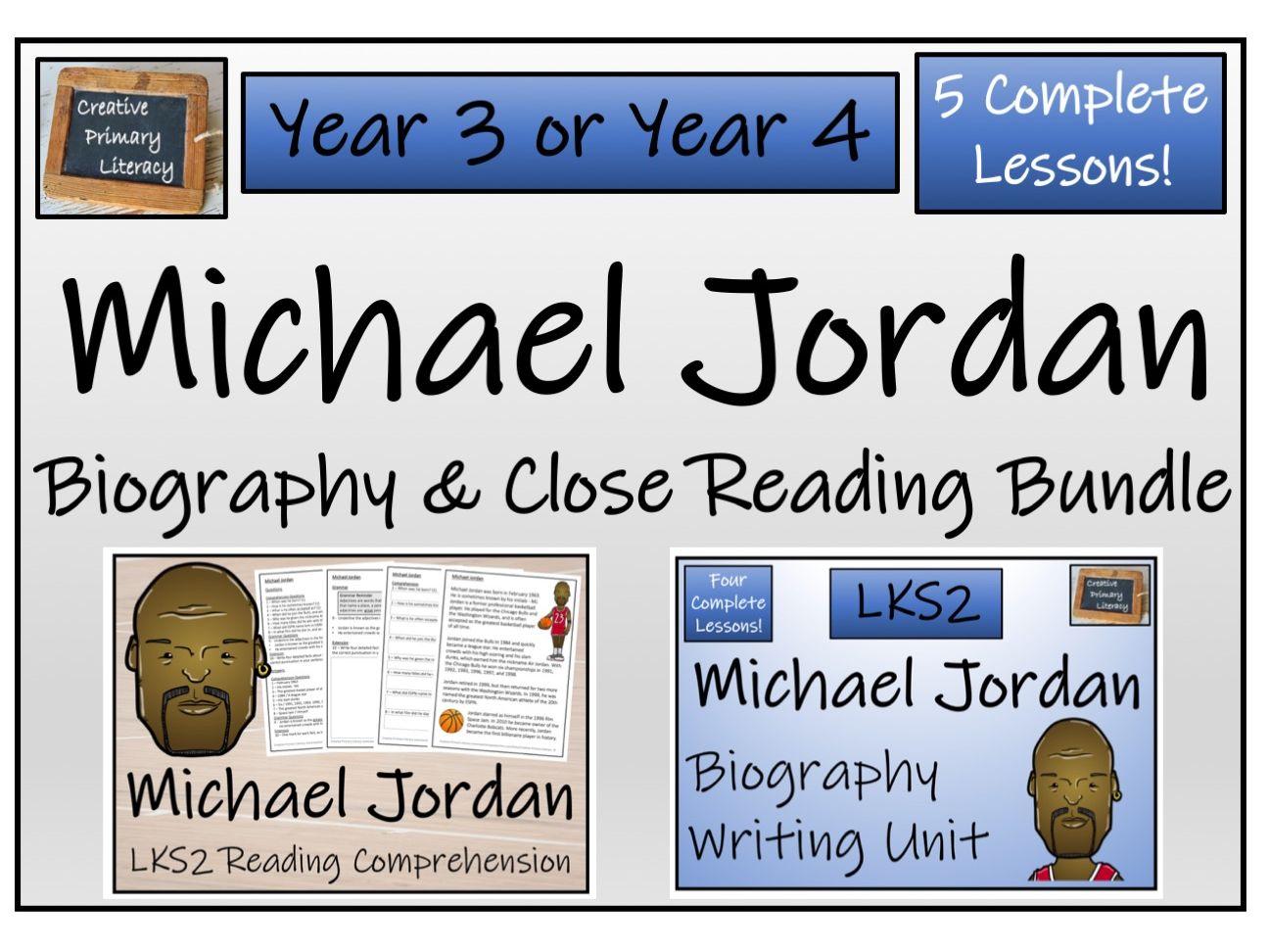LKS2 Literacy - Michael Jordan Reading Comprehension & Biography Bundle