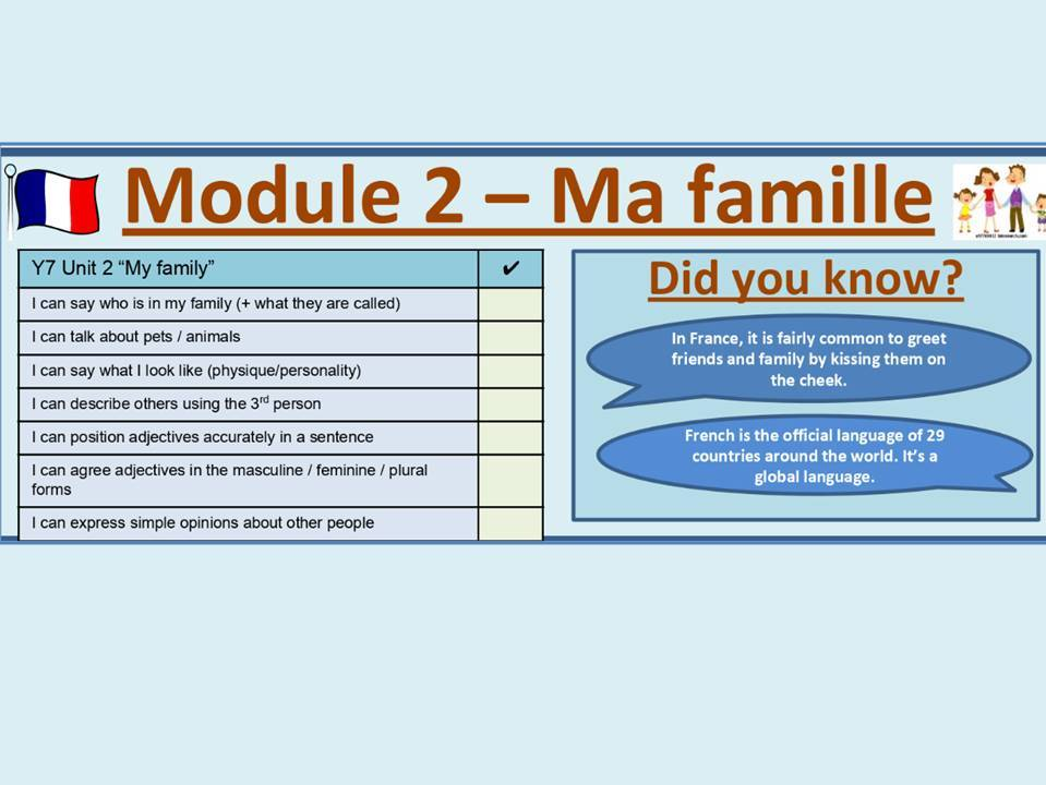 Ma famille - My family module - lesson bundle y7 French