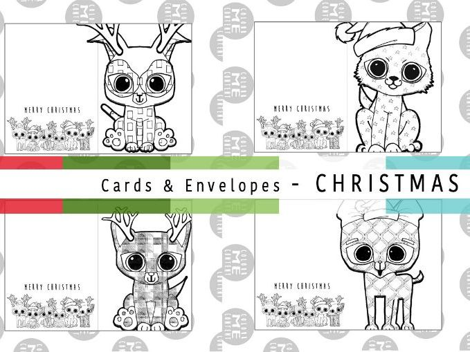Mindfulness Christmas Colouring Cards & Envelopes | ColourmeContent - SET 1 - Just Puppies