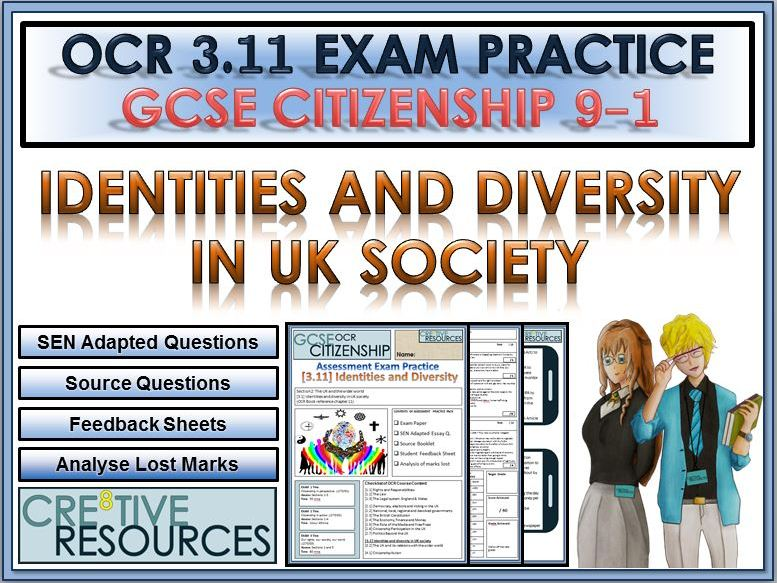9-1 Citizenship OCR GCSE Exam Assessment:  Identity and Diversity in the UK