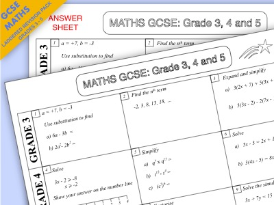 GCSE Maths Laddered Algebra Revision Pack: Grades 3-5