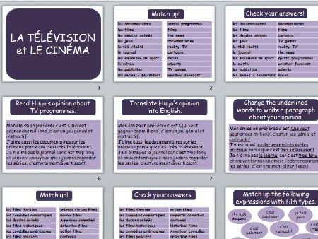 "French lesson ""TV and cinema"""