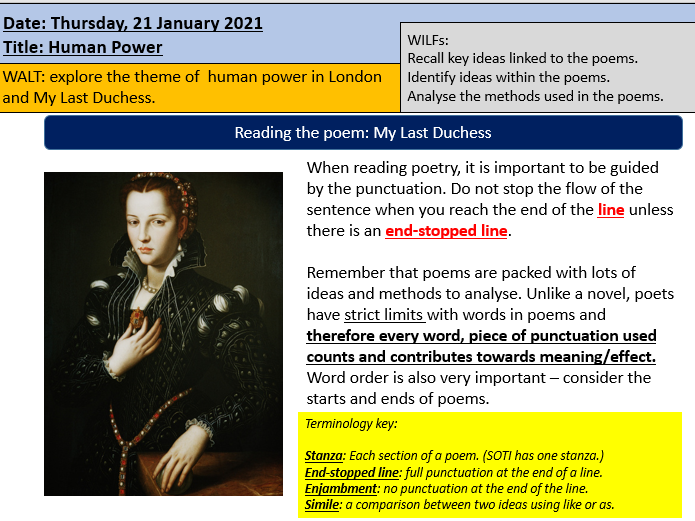 London and My Last Duchess Poetry Lesson Grade 4